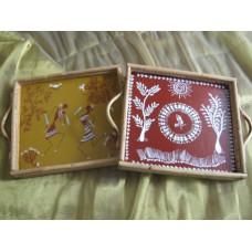 Warli Art Cane Tray