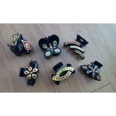 Tanjore Hair Clips - Butterfly