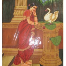 Ravi Varma - Lady with bird