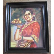 Ravi Varma - Lady with Plate of fruits
