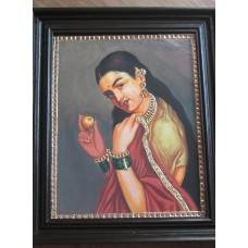 Ravi Varma - Lady with fruit - Tanjore