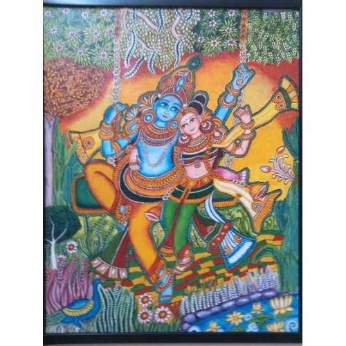 Kerala mural radha krishna for Mural radha krishna