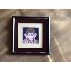 Painted 4x4 Ganesha- Framed