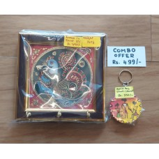 Tanjore Glass Painting Keyholder and Warli Keychain Combo
